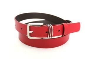 Skórzany czerwony pasek damski szerokość 2,5 cm