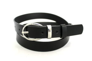 Skórzany czarny pasek damski szerokość 2,5 cm
